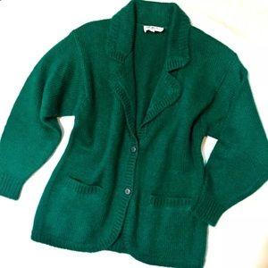Vtg Joyce S Green Cardigan Wool Oversize Sweater